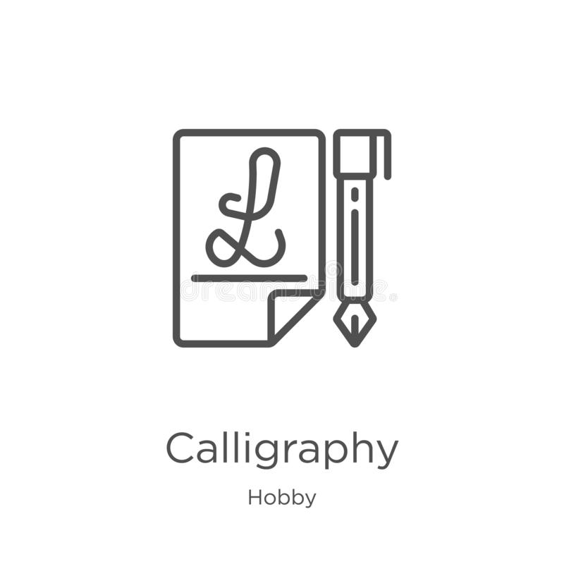 calligraphy icon vector from hobby collection. Thin line calligraphy outline icon vector illustration. Outline, thin line vector illustration