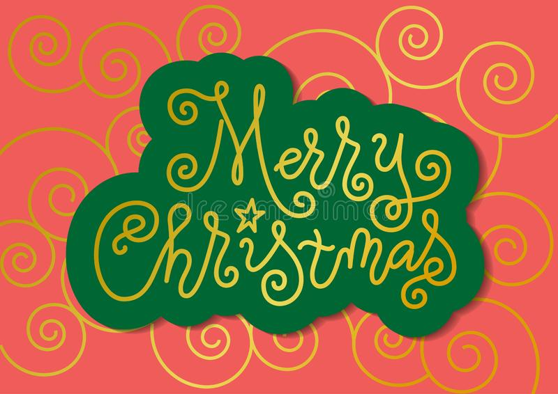 Calligraphy lettering of Merry Christmas in golden with green outline on coral background with swirls. Modern mono line calligraphy lettering of Merry Christmas vector illustration