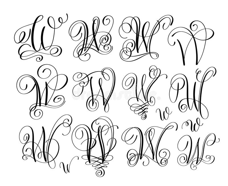 Download Calligraphy Lettering Script Font W Set Hand Written Stock Vector