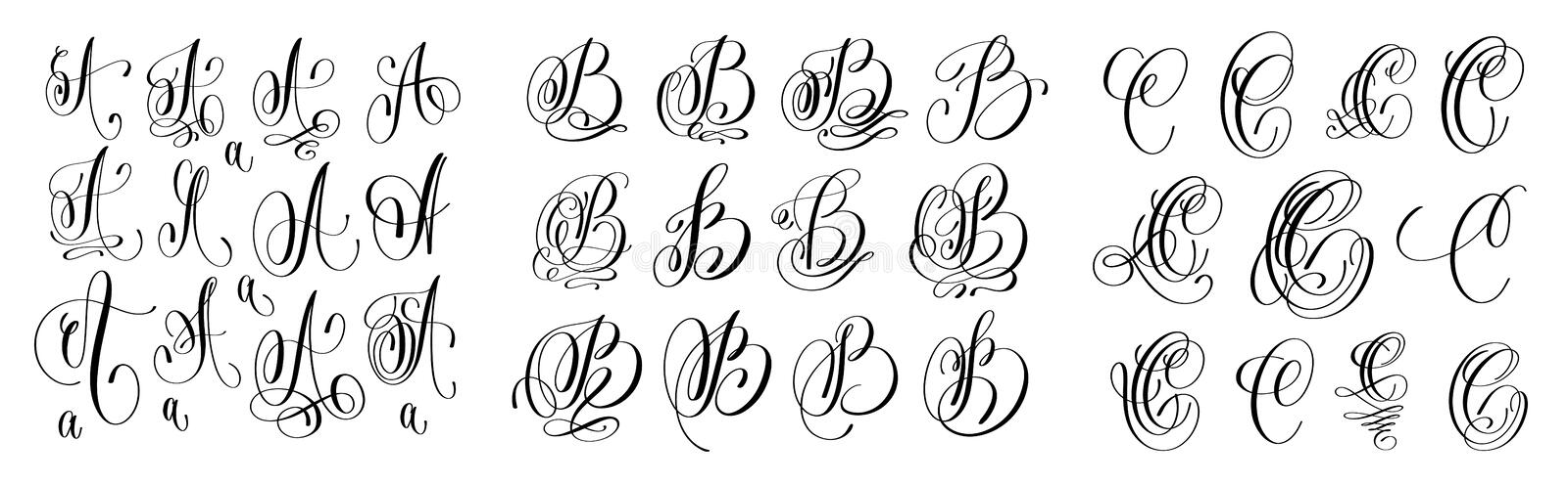 Download Calligraphy Letters Set A B And C Script Font Isolated On Whit Stock