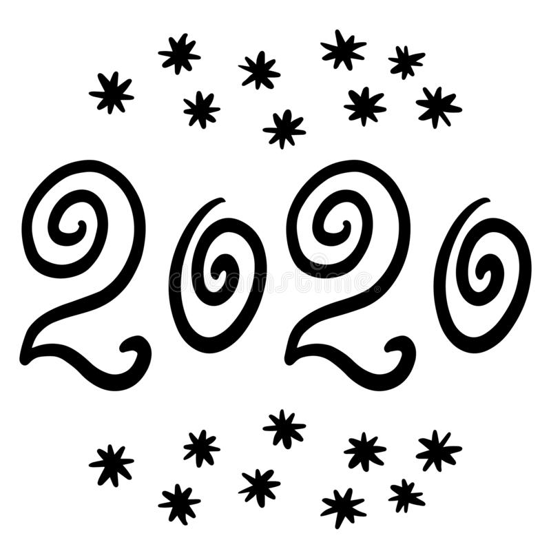 Calligraphy 2020 New Year. Snowflakes. Hand-drawn numbers for holiday calendars, cards and more. Text design, lettering stock illustration
