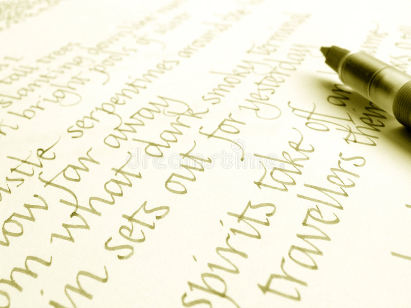 Download Calligraphy Pen And Hand Writing Stock Image - Image: 5963851