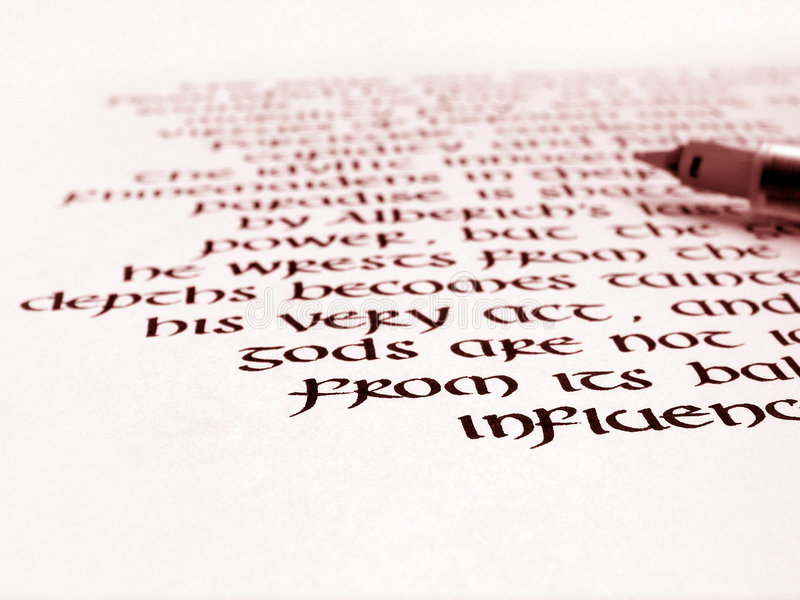 Calligraphy pen and handwriting on paper stock images