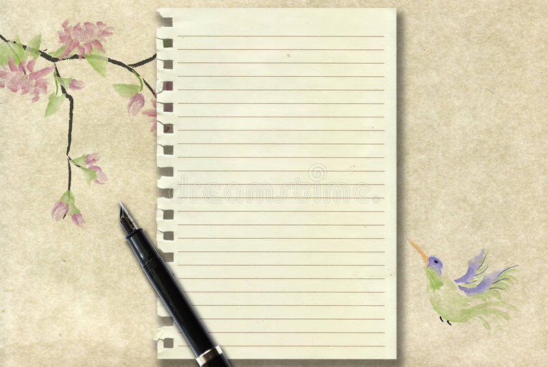 Download Calligraphy Pen And Old Writing Paper Stock Illustration - Image: 16818374