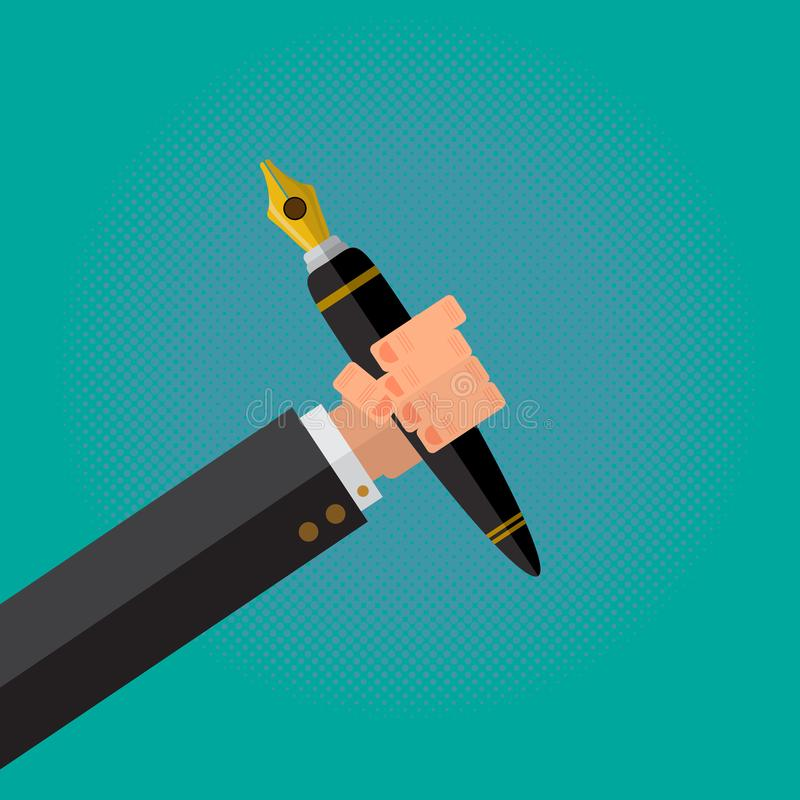 The Calligraphy Pen in a Writer Male Hand. vector illustration