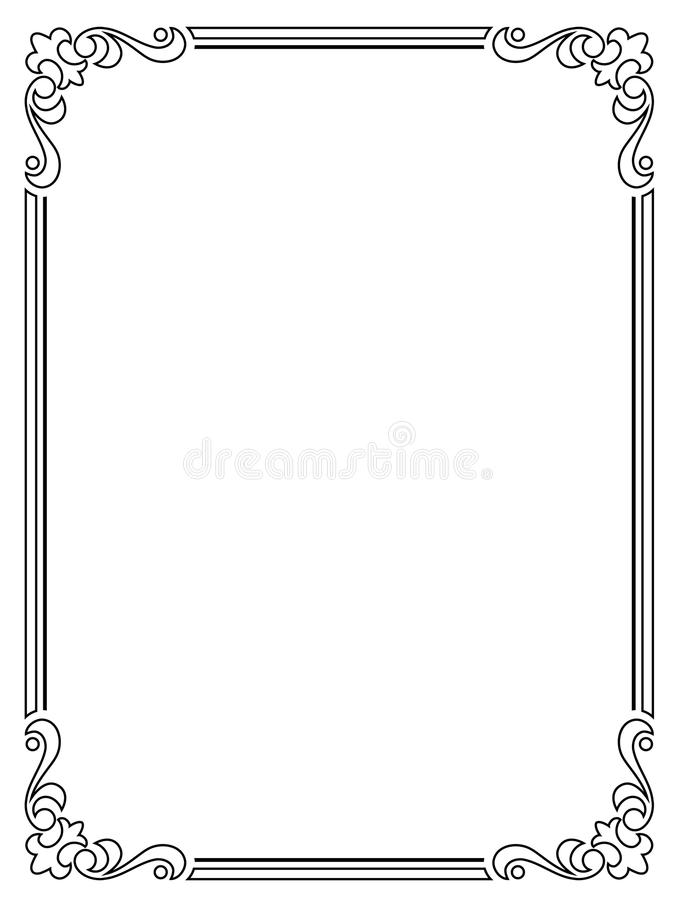 Calligraphy Penmanship Curly Baroque Frame Black Stock Vector ...