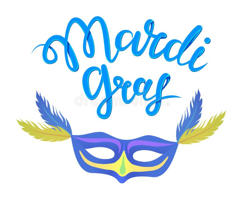 Calligraphy with the phrase Mardi Gras. Hand drawn lettering. Vector illustration, isolated on white background. stock illustration