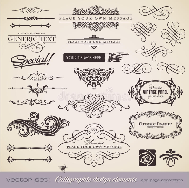 Calligraphy set 5. Calligraphic design elements and page decoration - lots of useful elements to embellish your layout