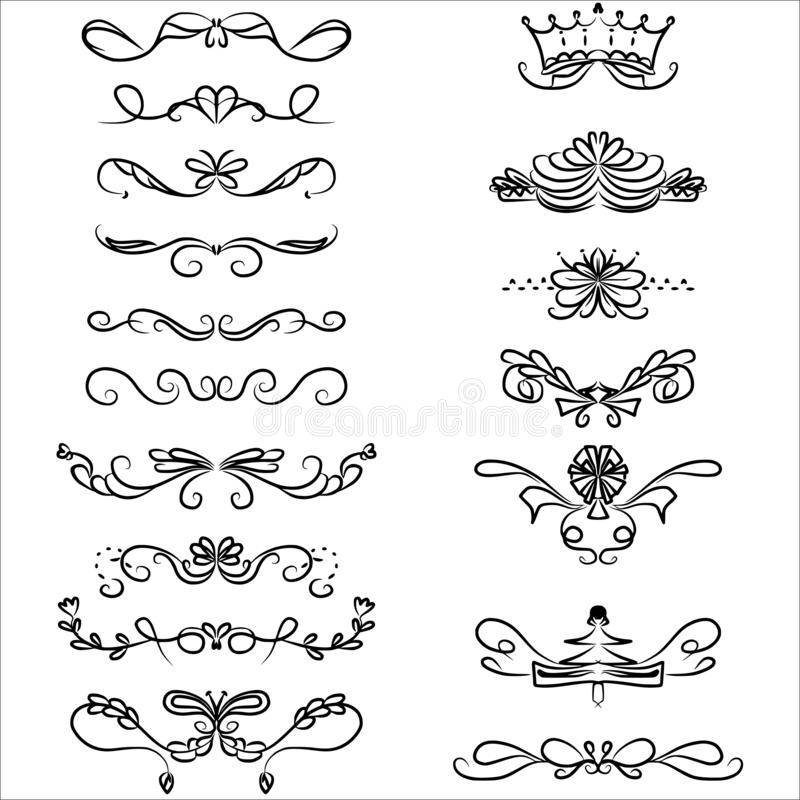 Calligraphy swirl doodle border vector set royalty free stock photography