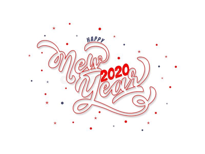 Calligraphy text Happy New Year 2020 in line art on white background for celebration. Can be used as greeting card design vector illustration