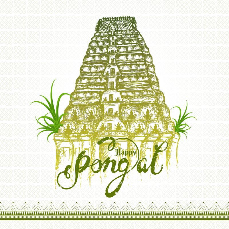 Calligraphy text Happy Pongal with sketching of Meenakshi temple. vector illustration