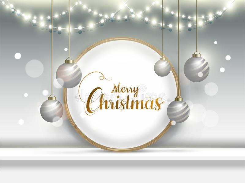 Calligraphy text Merry Christmas in circular frame with hanging baubles and lighting garlands. vector illustration