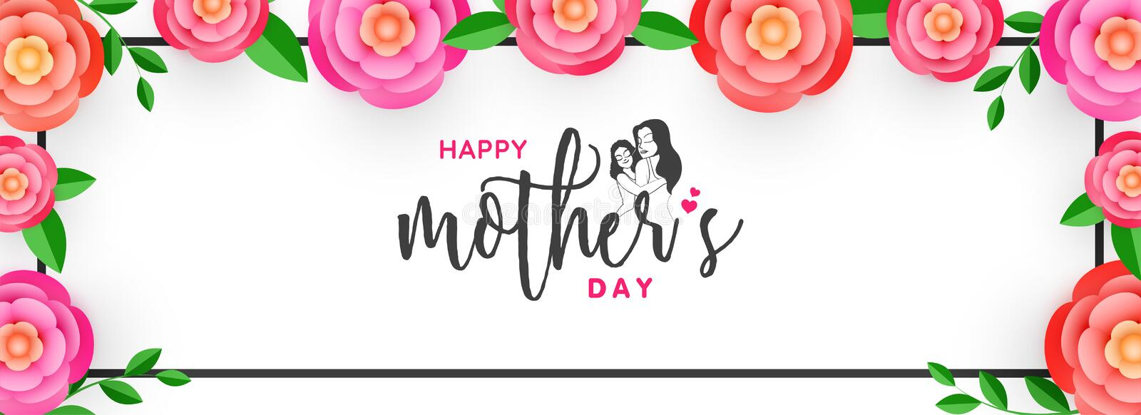 Calligraphy text Mother`s Day decorated with beautiful pink flo royalty free illustration