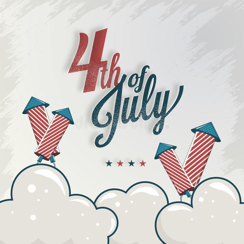Calligraphy text 4th Of July with firework rocket on texture cloudy background royalty free illustration