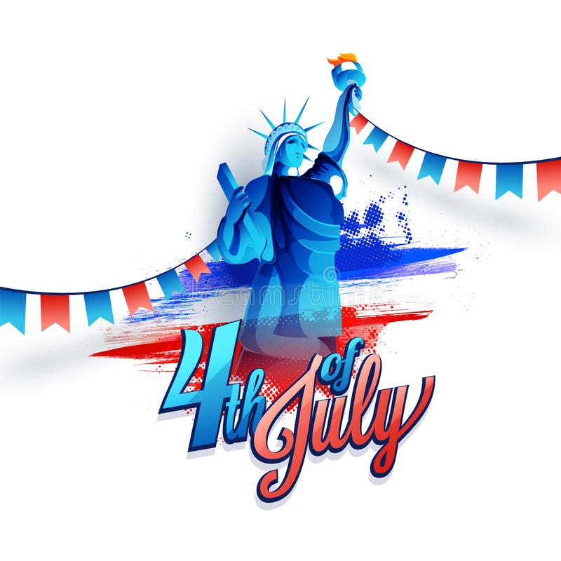 Calligraphy text 4th Of July with Statue of Liberty on American flag colors. stock illustration