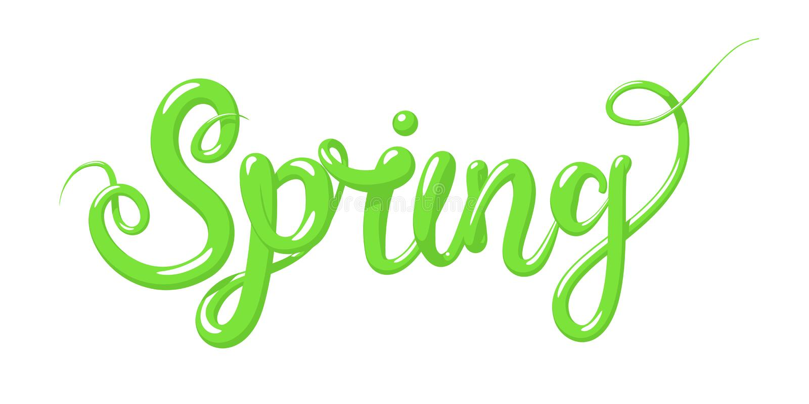 Calligraphy with the word Spring . Hand drawn lettering in 3d style. Vector illustration, isolated. stock illustration