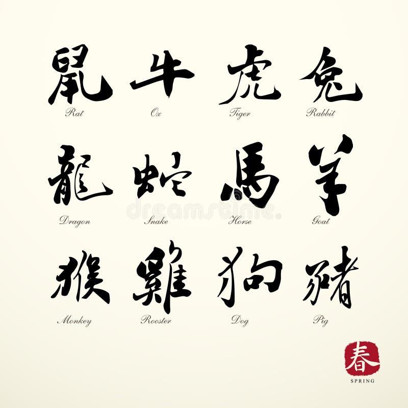 Calligraphy zodiac symbols stock vector illustration of