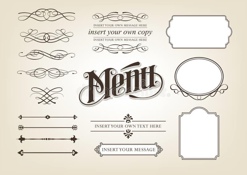 calligraphymenyset vektor illustrationer