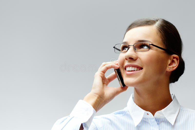 Calling brunette royalty free stock images