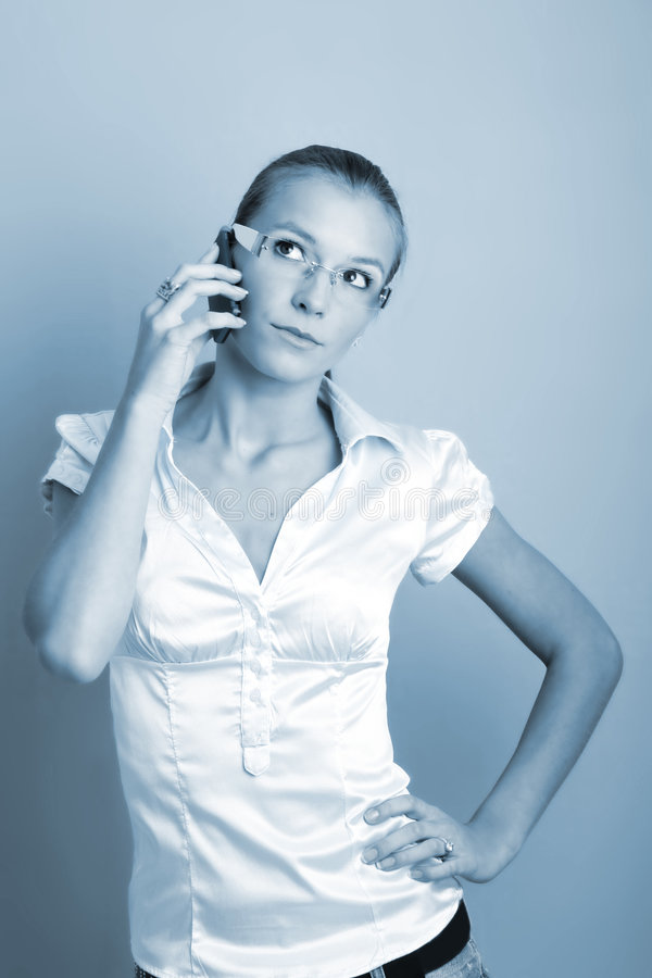 Calling business woman stock image