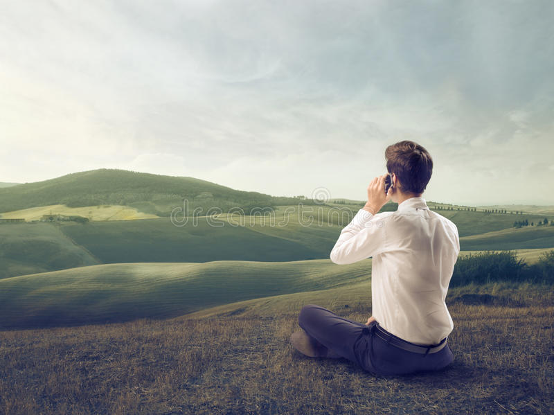 Download Calling in a Field stock photo. Image of communication - 26194050