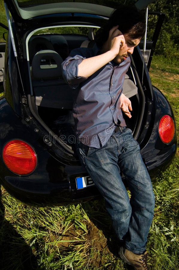Download Calling For Help stock photo. Image of casual, auto, jeans - 1421636