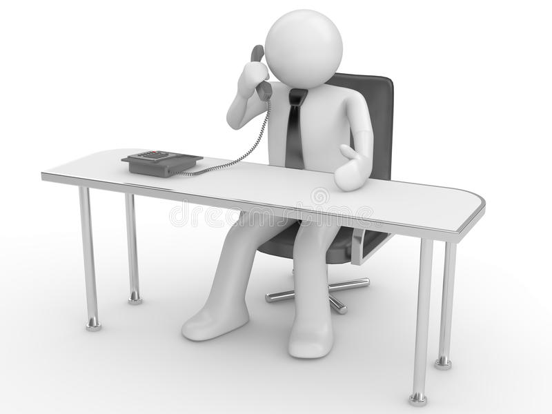 Calling man at workplace stock images