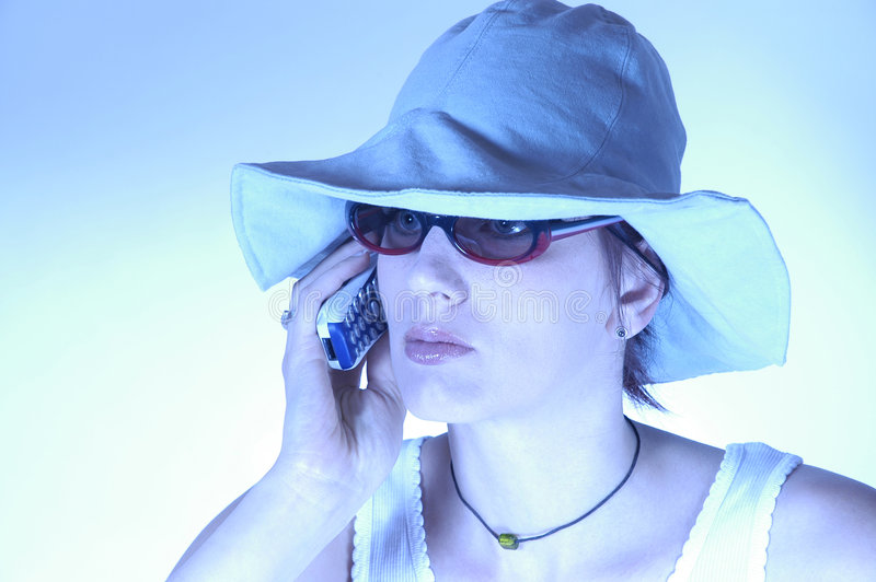 Calling woman royalty free stock photo