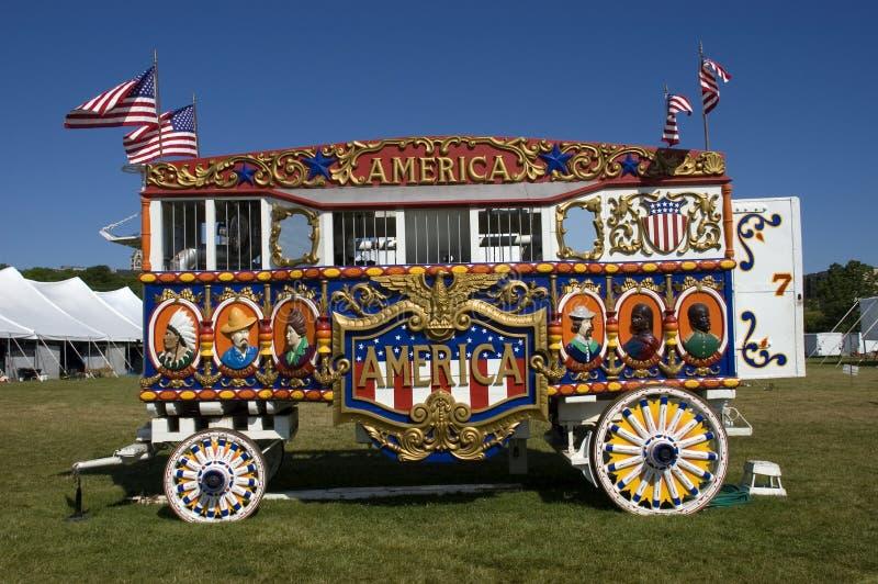 Calliope del vapor de la vendimia y carro de circo fotografía de archivo libre de regalías