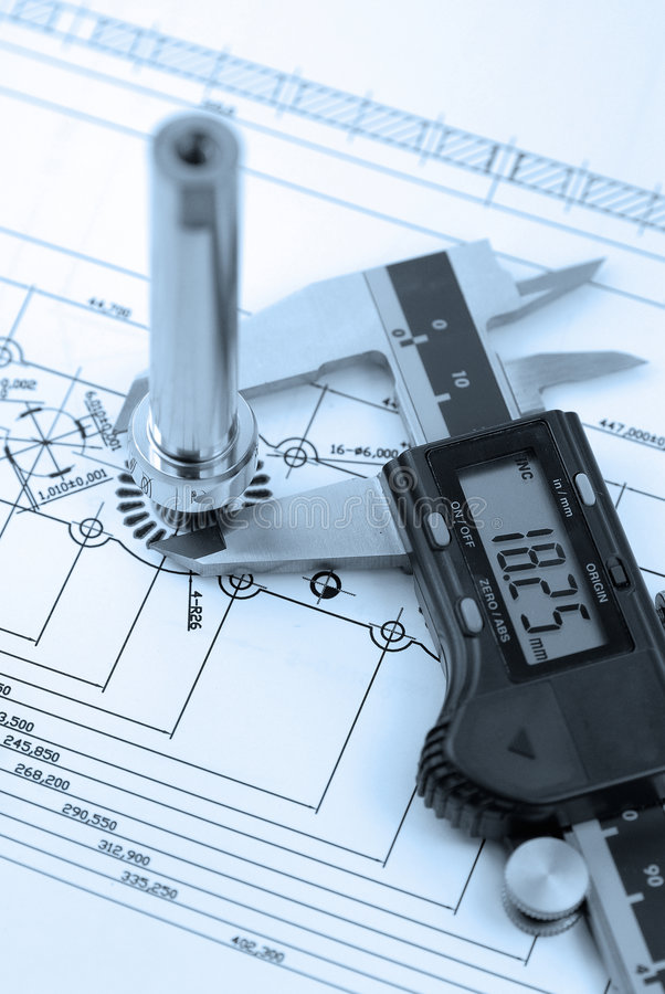 Calliper With Part On  Engineering Drawing Stock Photos