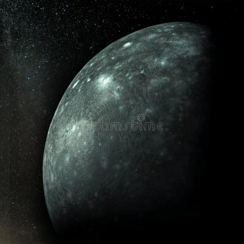 Callisto, luna secondo più esteso di Giove immagine stock