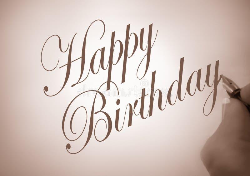 Callligraphy happy birthday royalty free illustration