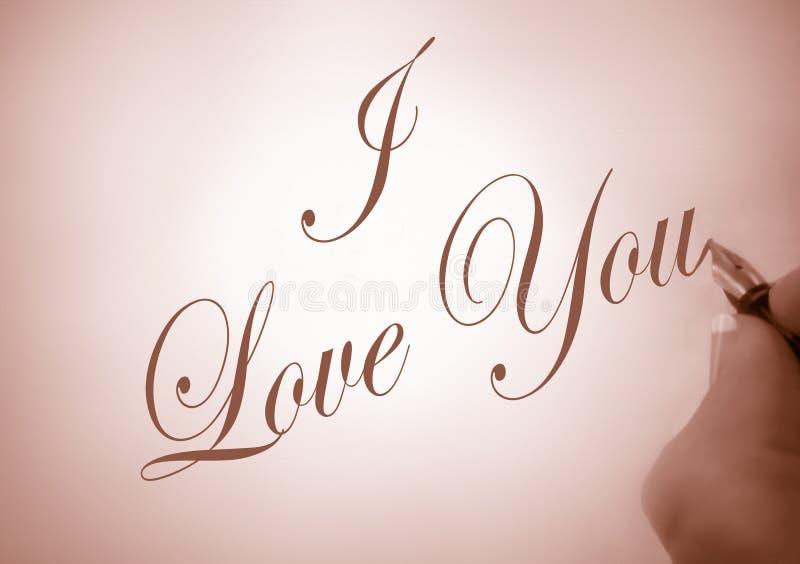 callligraphyen älskar jag dig arkivbild
