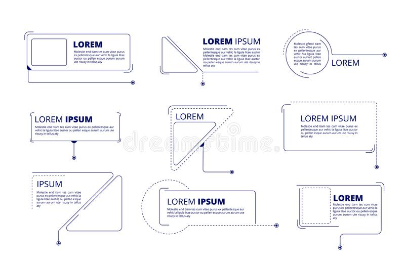 Callouts titles. Text labels technology callout marketing title boxes lower third bars vector isolated set royalty free illustration
