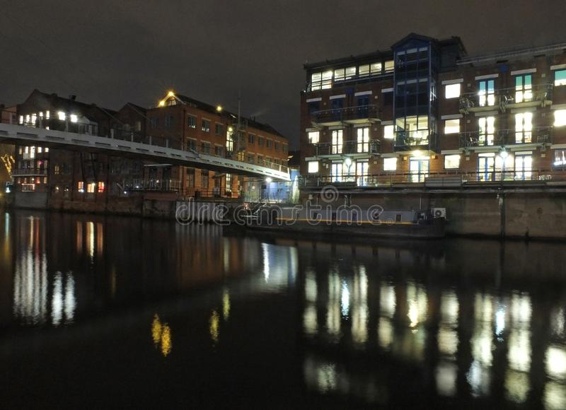 Calls Landing On The River Aire In Leeds At Night With The ...