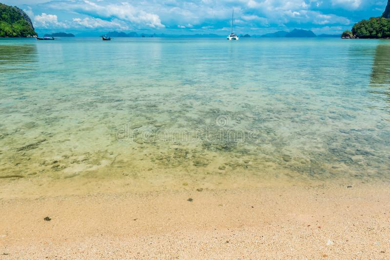 Calm Andaman Sea, view from the beach to the sea. And the horizon royalty free stock image