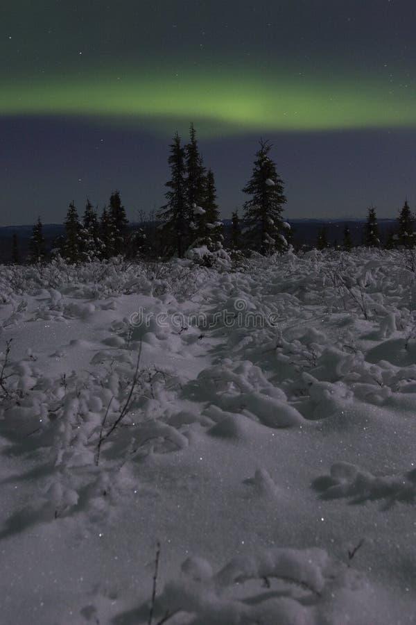 Calm aurora landscape stock photo