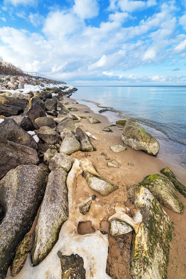 Calm Baltic Sea Scenery At Winter Time Stock Photos