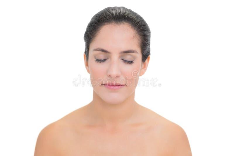 Calm Bare Brunette Closing Her Eyes Stock Photos