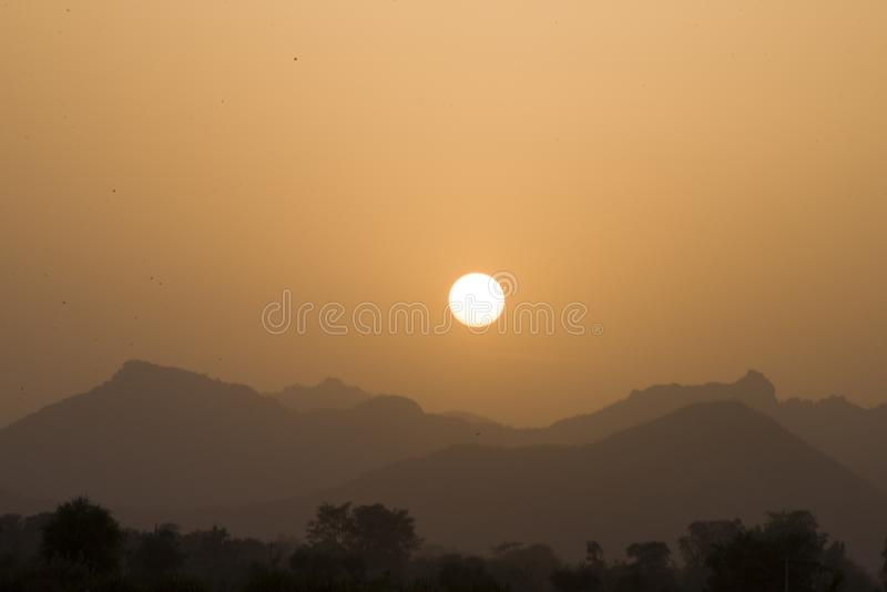 A calm beautiful sunset from Rajasthan royalty free stock photo