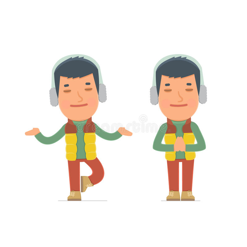 Calm and Blanced Character Winter Citizen does yoga and meditate royalty free illustration
