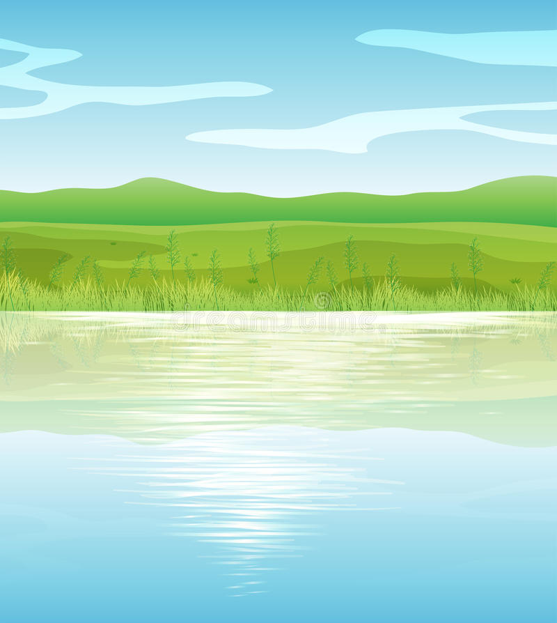 Download A calm blue lake stock vector. Image of grass, enviornment - 31092277