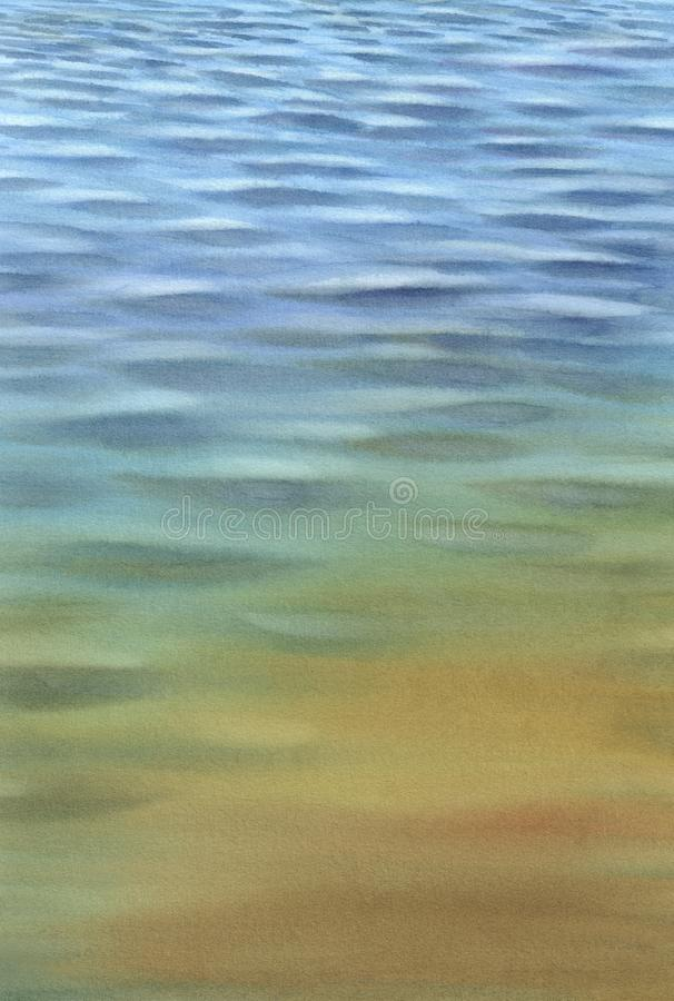 Calm blue water with transparent waves watercolor background. Abstract background royalty free stock images