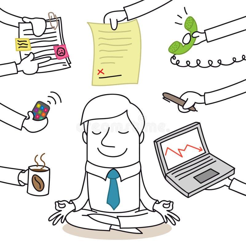 Calm businessman doing yoga, paperwork surrounding stock illustration