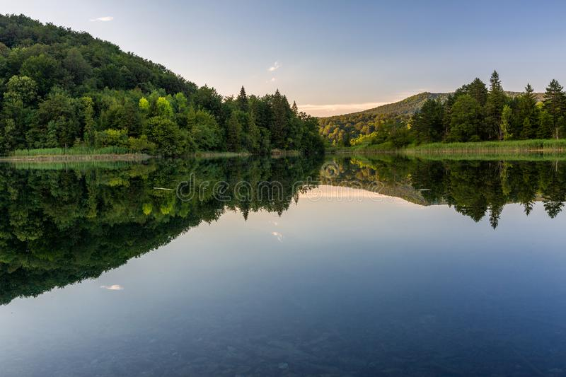 Calm evening on the beautiful lake in Plitvice Lakes National Park stock photos