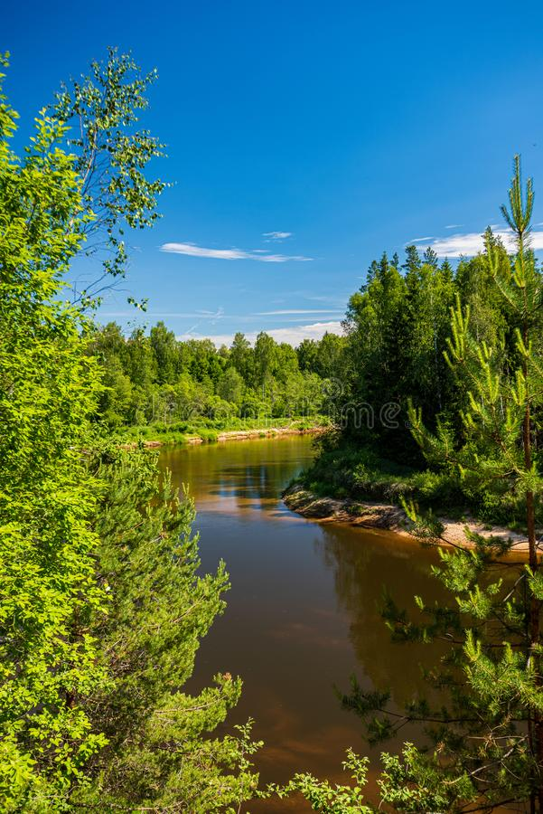 Free Calm Forest River Hiding Behind Tree Branches Royalty Free Stock Photo - 149317755