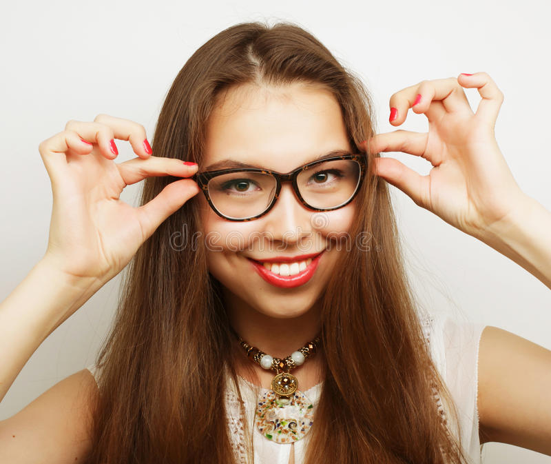 Calm and friendly woman with glasses stock photo