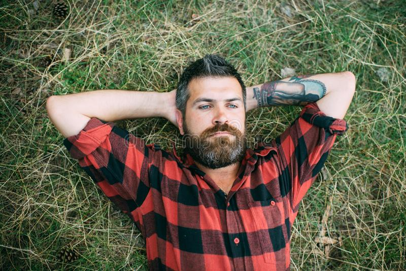 Calm hipster lying on green grass. Handsome guy with tattoo relaxing in park. Overhead portrait of man with blue eyes stock photo