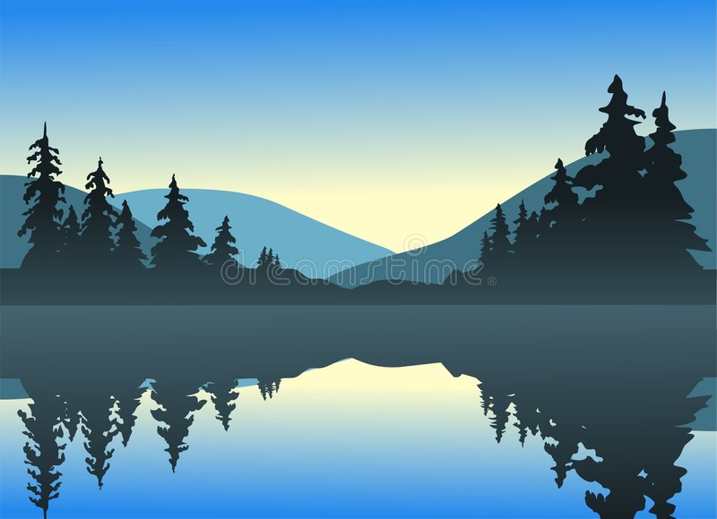 Download Calm Lake stock vector. Image of sunrise, landscape, lake - 4157406