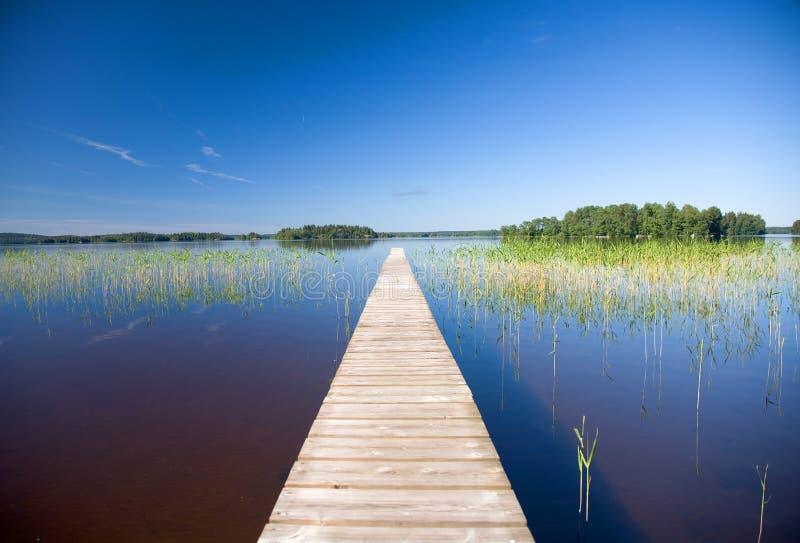 Calm lake blue sky royalty free stock photography